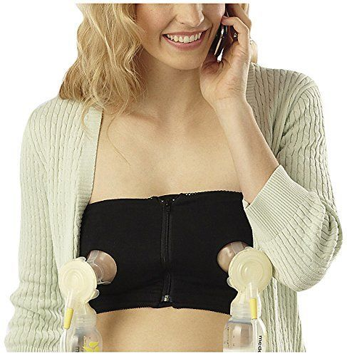 Medela Easy Expression Hands-Free Bustier, Black, Medium Medela ... get it, you need it. you will want to be hands free, I have forgotten this once and never will I forget again ;)