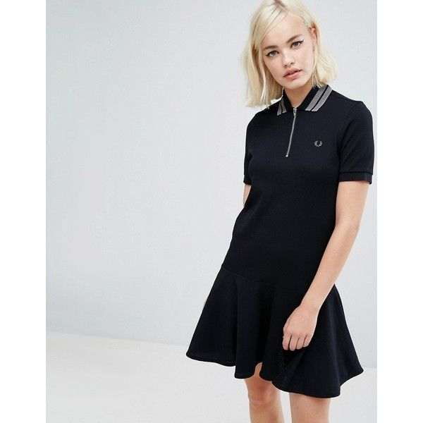 Fred Perry Peplum Pique Dress (185 CAD) ❤ liked on Polyvore featuring dresses, black, preppy dresses, fitted dress, peplum dress, checkered dress and short sleeve dress