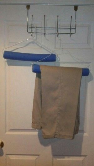 How simple is this????  Just use a pool noodle to keep those pesky hanger creases away.
