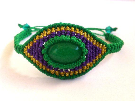 Evil Eye Macrame Bracelet with a Green Jade Cabochon by MACRANI