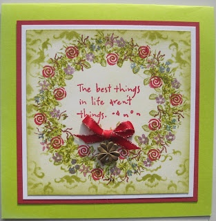 Best Things in Life Aren't Things. Hand Stamped Card with stamps from Rubber Stamps Tapestry by Dianne ten Hove