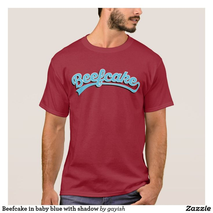 Beefcake in baby blue with shadow t-shirt  #beefcake #slang #muscular #manly #fitness #fit #male #tshirt