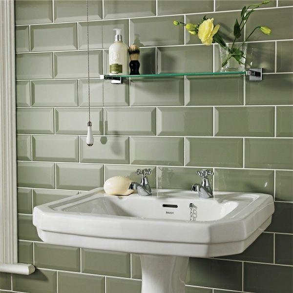 carrelage vert pastel salle de bains moderne