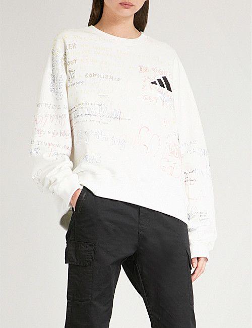 bdacb0bdd2d YEEZY Season 5 Handwriting adidas cotton-jersey sweatshirt