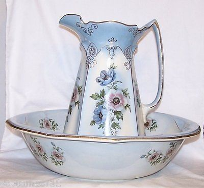 Imperial Pottery Wash Bowl & Pitcher Set Blue & White Floral Design Gold Trim