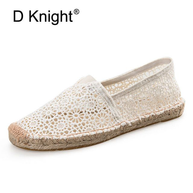 Special offer New 2017 Fashion Cut-outs Lace Women Espadrilles Comfortable Straw Braid Slip-on Women Flats Canvas Espadrilles For Women 35- 40 just only $16.46 with free shipping worldwide  #womenshoes Plese click on picture to see our special price for you
