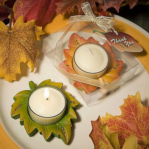 Fall in love this fall season with these beautiful, leaf-shaped votive tea light candle favors.  The perfect accent to your autumn wedding reception or party.