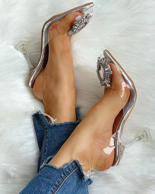 Studded Pointed Toe Transparent Thin