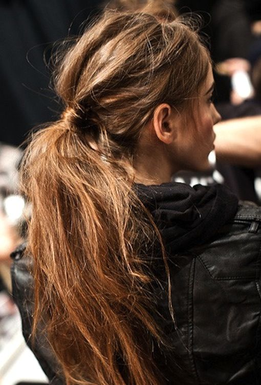 The Textured Ponytail (good tutorial): Tip, dry shampoo not only can help create a textured look, it can also give you VOLUME! Many of us need that with day old/slept on hair.