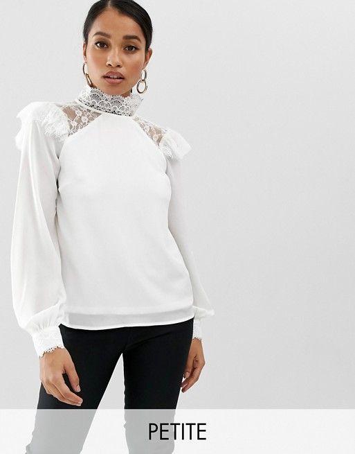 6ae794a40ae4b4 Fashion Union Petite | Fashion Union Petite high neck long sleeve top with lace  detail