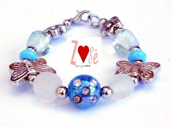 Girls #blue #bracelet. Butterfly beads. Size medium. by #ZoseDesigns, $10.00