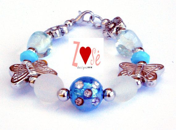Girls #blue #bracelet. Butterfly beads. Size medium. by #ZoseDesigns, $10.00