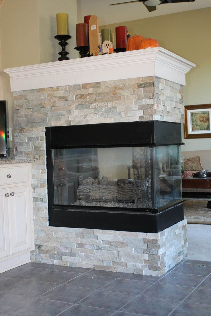 New gas fireplace with custom slate surround