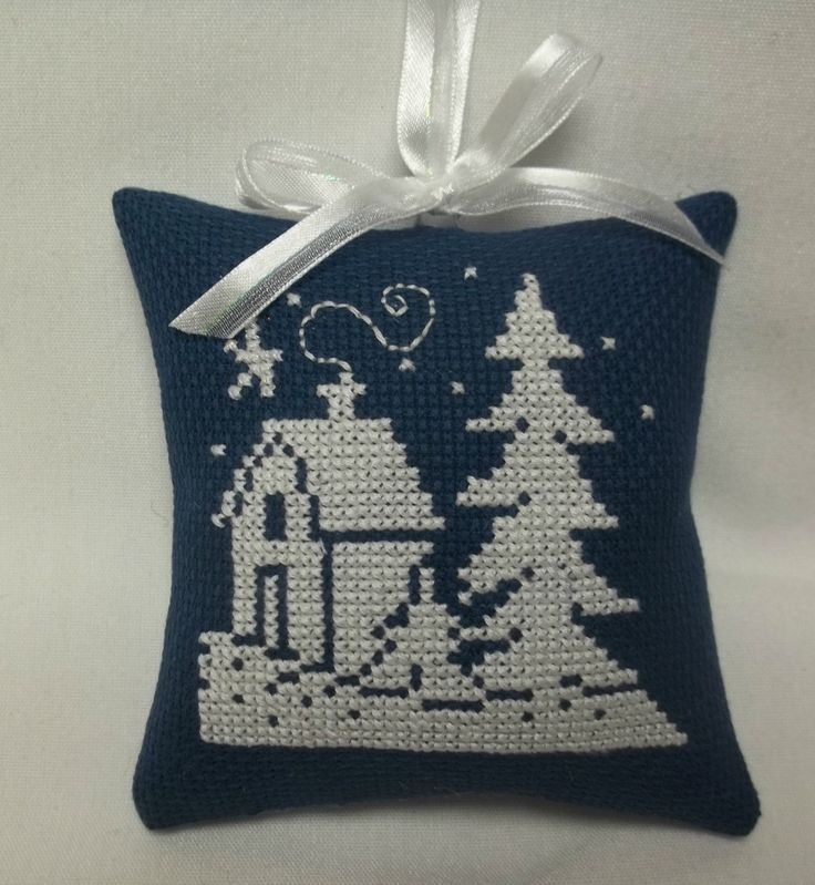 Winter Silhouette Cross Stitched Ornament by luvinstitchin4u on Etsy