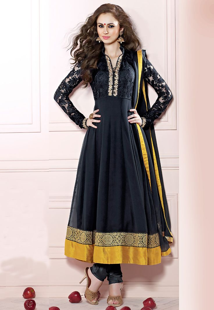 #Black #Anarkali Churidar Kameez
