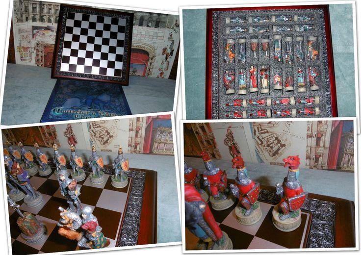 Scacchi Medievali Re 8,5 cm set scacchiera FANTASY resina dipinti a mano CHESS