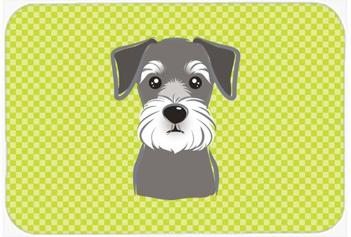 Checkerboard Lime Green Schnauzer Mouse Pad - Hot Pad or Trivet BB1268MP #artwork #artworks