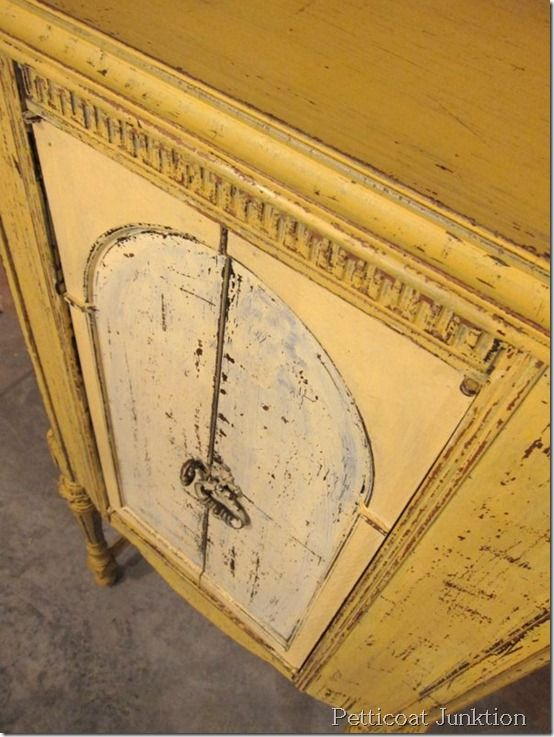 Painted Cabinet using Miss Mustard Seed's Milk Paint in Mustard Seed Yellow, Petticoat Junktion