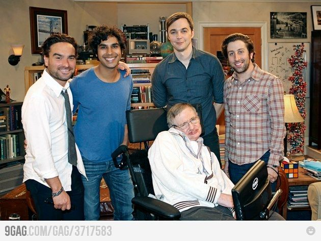 The cast of The Big Bang Theory with Stephen Hawking.  Rock on!
