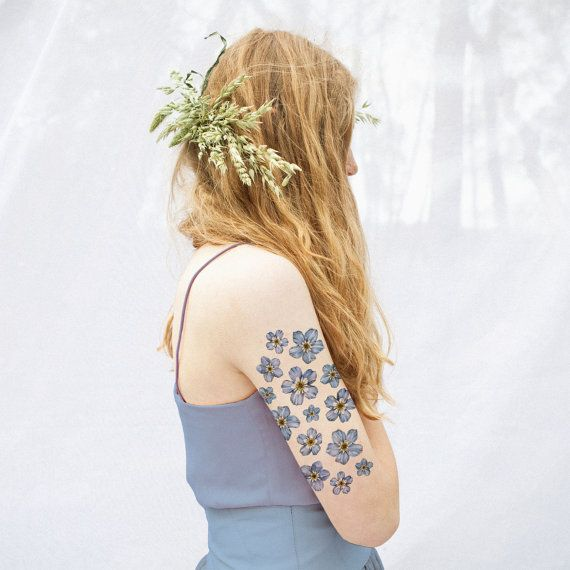 Forget Me Not Floral Temporary Tattoo Kit by VictoriasAviary