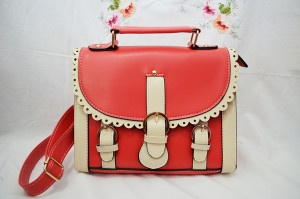 Ava Satchel, available in bright coral, blue and brown.