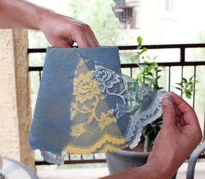 make a spray painted lace lamp shade