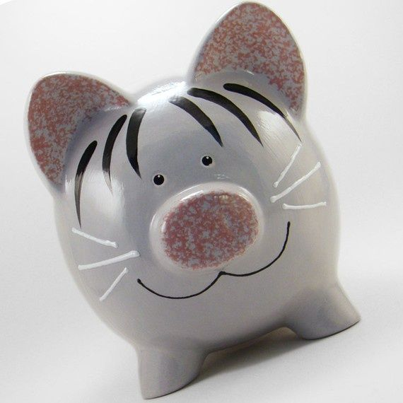 Unique+Piggy+Banks | Personalized Piggy Bank Kitty Cat Gray Tabby ... | Piggy banks I w…