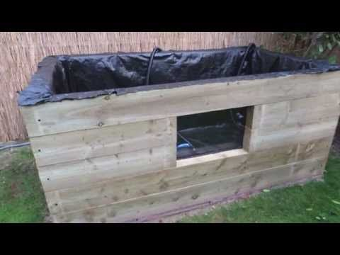 How to build a raised pond with viewing window - YouTube