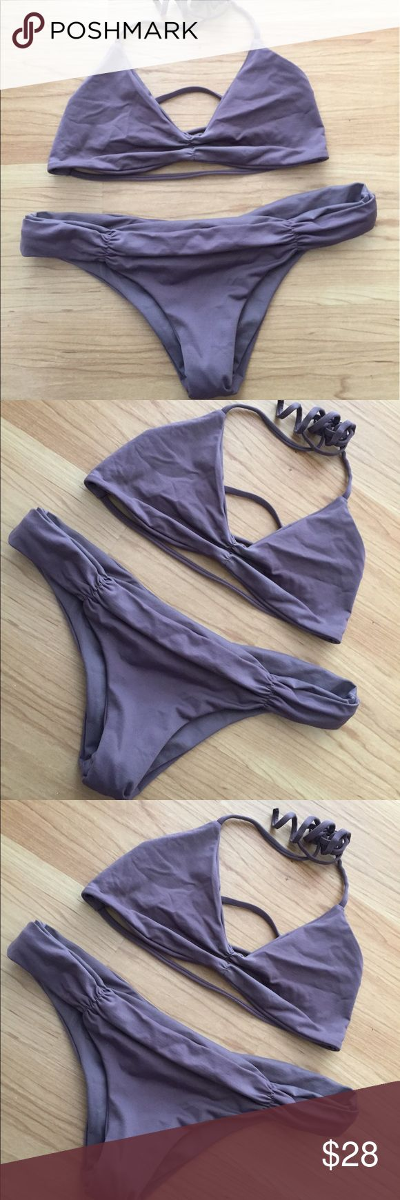 L*space Grey Purple Bikini Set XS Top was worn a few times. There's a light color fade in the middle around the scrunching. The bottoms only worn once. l*space Swim Bikinis