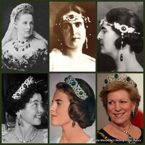Four Queens of Greece, all wearing the emeralds, one way or another