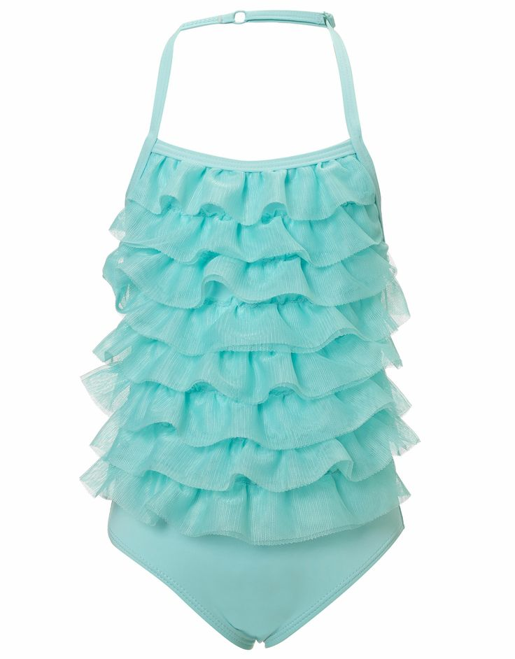 Baby Nia Net Frill Swimsuit | Blue | Monsoon