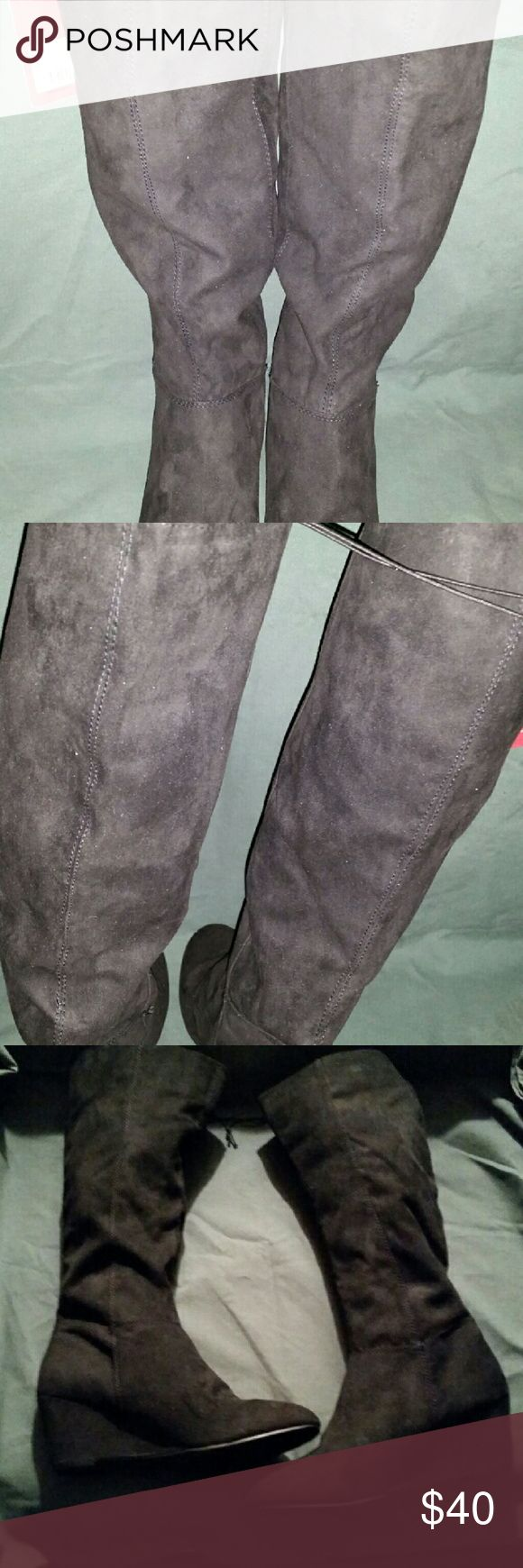 Merona Knee High 10 Wedge Heel Boots Career wedge heels, full length zipper for easy access, wide calf, slightly padded insole for walking ease Merona  Shoes Heeled Boots
