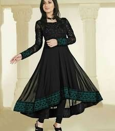 Buy Black Georgette embroidered semi stitched salwar suit party-wear-salwar-kameez online