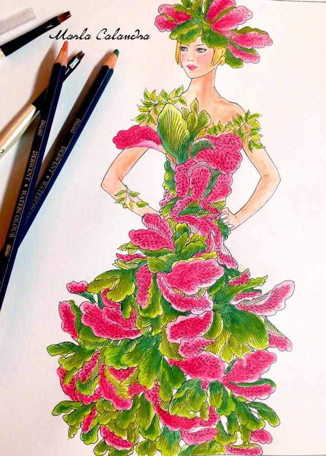 Watermelon girl (from the Fashion Floral Fantasy Design Collection) Artwork by Marla Calandra, Watercolor pencils and ink