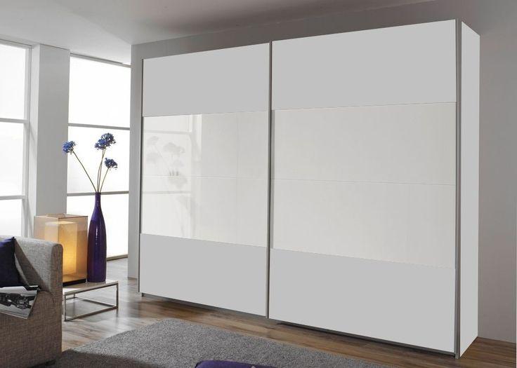 Schrank Quadra 271,0 cm Alpinweiß Weiß 8599. Buy now at https://www.moebel-wohnbar.de/schwebetuerenschrank-quadra-271-0-cm-alpinweiss-mit-glas-weiss-8599.html