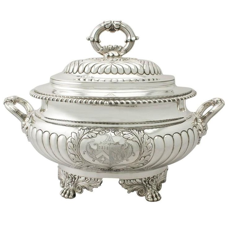 Sterling Silver Soup Tureen/Centerpiece - Antique George IV   From a unique collection of antique and modern sterling silver at https://www.1stdibs.com/furniture/dining-entertaining/sterling-silver/