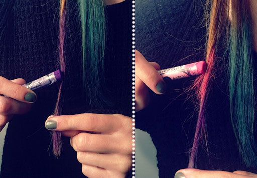 Chalking!   Crazy hair colors without dye. It comes out the same day! Genius.