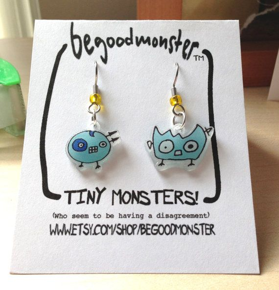 Light Blue Monster Earrings with Yellow Bead - Hanging Surgical Steel -  Shrinky Dink - Shrink Plastic