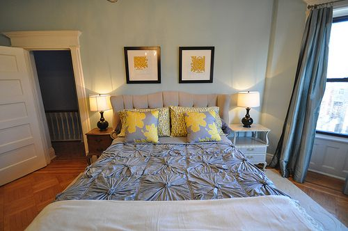 yellow bedroom. Would work well with the colors we already have.