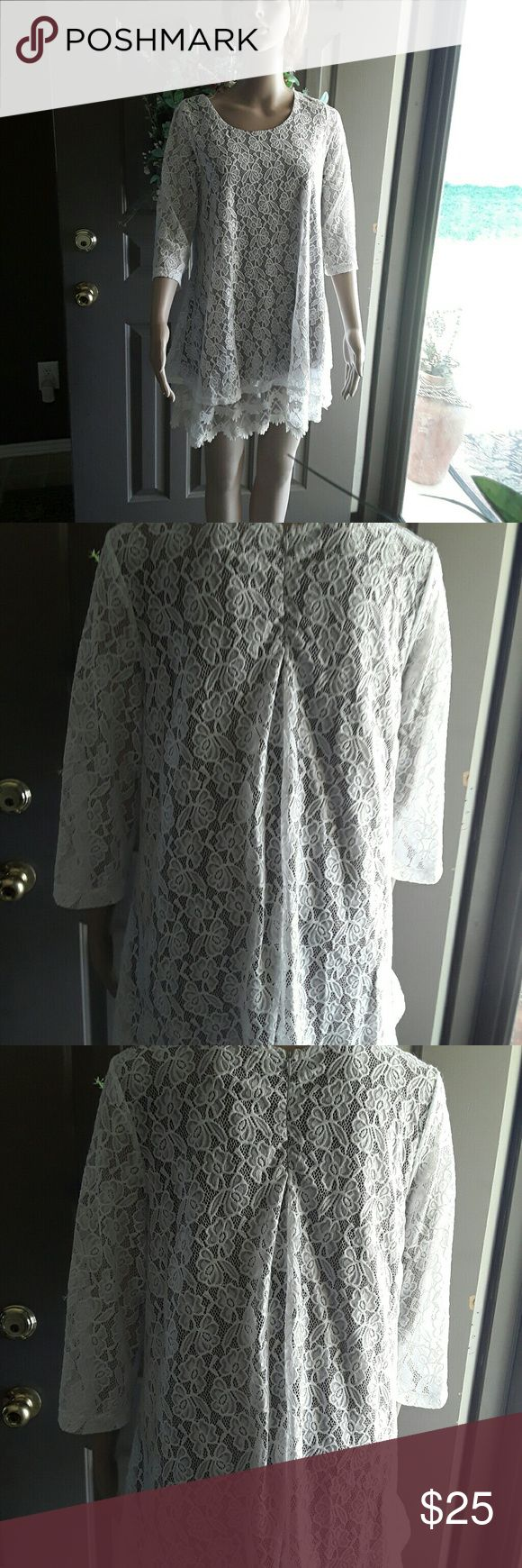 Lady Noiz two piece lace tunic A two piece beige lace tunic with a slip underneath and a lace tunic on top single piece Lady Noiz Tops Blouses
