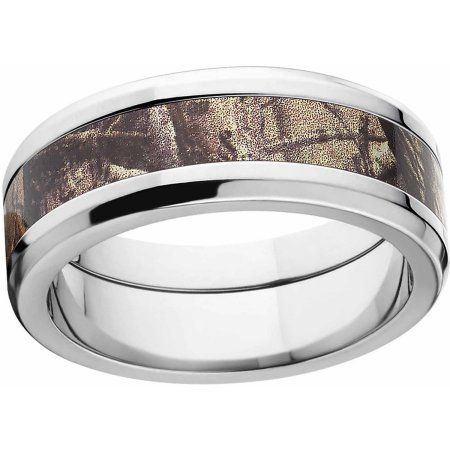 Realtree AP Men's Camo 8mm Stainless Steel Wedding Band with Polished Edges and Deluxe Comfort Fit, Size: 17