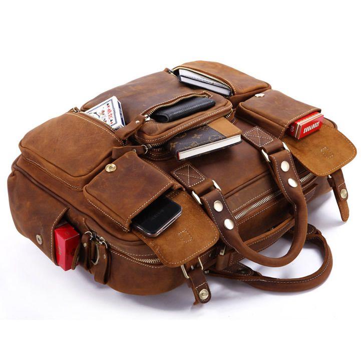 Vintage Handmade Crazy Horse Leather Business Travel Bag