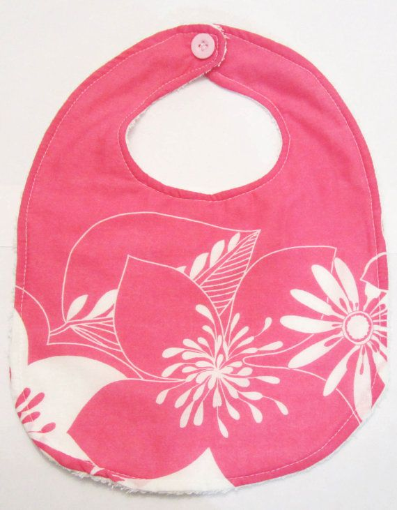 Baby Girl Bib Pink and white floral print 100 cotton by ShopF4m, $8.00