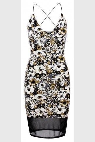 Εφαρμοστό φλοράλ μίντι φόρεμα - Πολύχρωμο