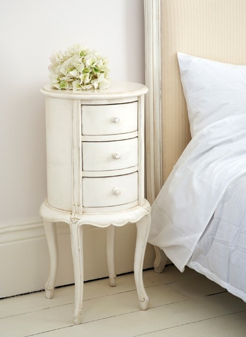 Classical White Round Bedside -