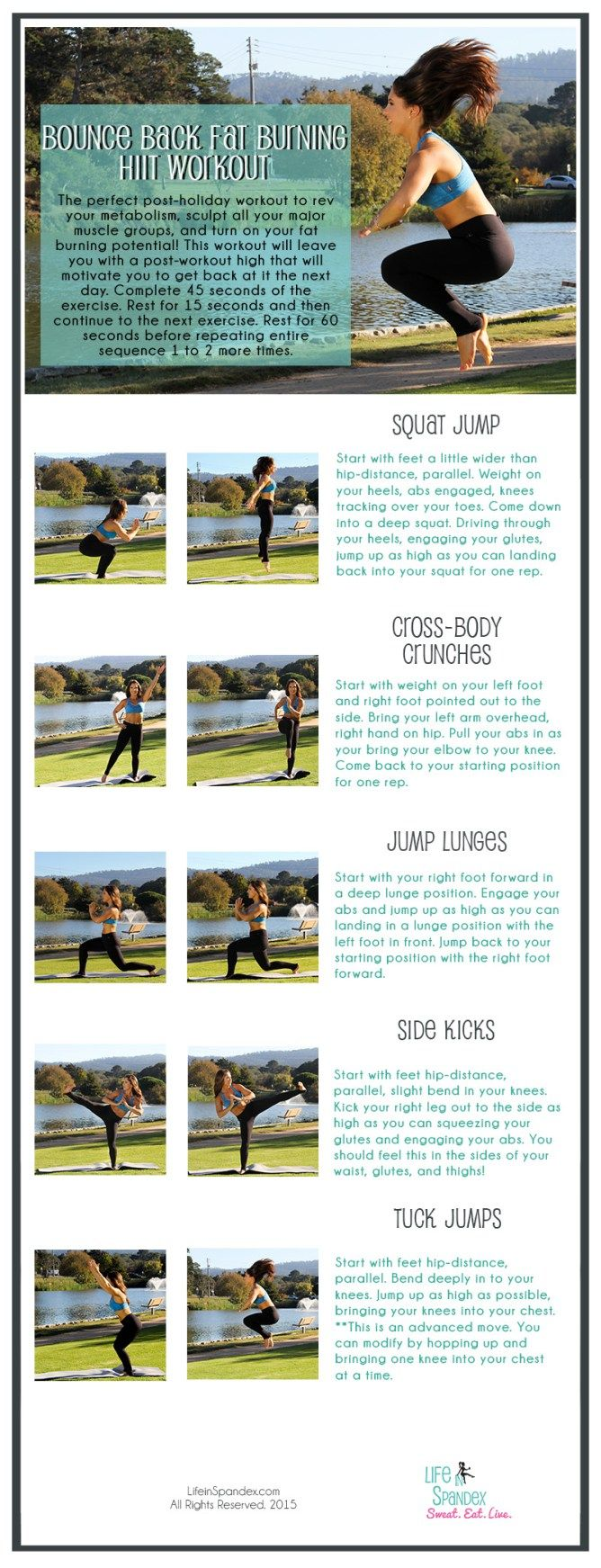 This Bounce Back Fat Blasting HIIT Workout will rev your metabolism, sculpt all your major muscle groups, and turn on your fat burning potential! This workout will leave you with a post-workout high that will motivate you to get back at it the next day.