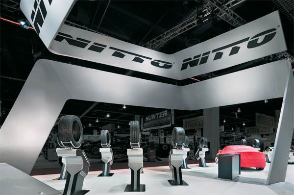 Sleek & Modern Tires Stands #SEMA EXHIBITOR magazine: Exhibit Design Awards: Reinventing the Wheel, May 2012