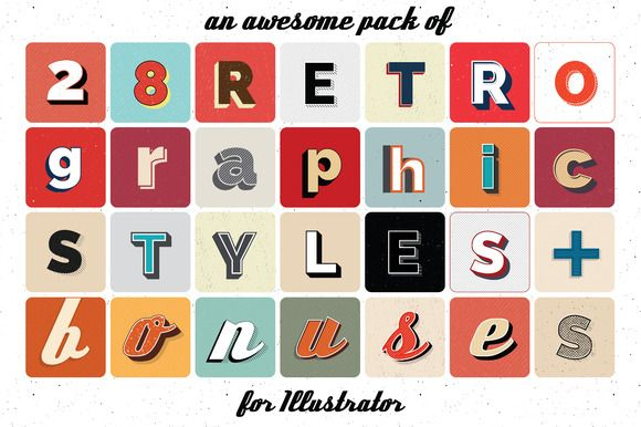 Retro graphic styles for Illustrator by PencilPaperPrints on @creativemarket