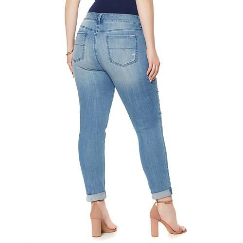 Melissa McCarthy Seven7 Roll-Up Embroidered Skinny Jean - Fernando