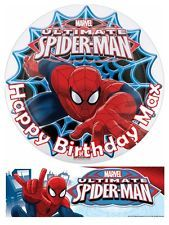 Spiderman Party Edible Cake topper 7 Inch / cupcakes Precut + free banner